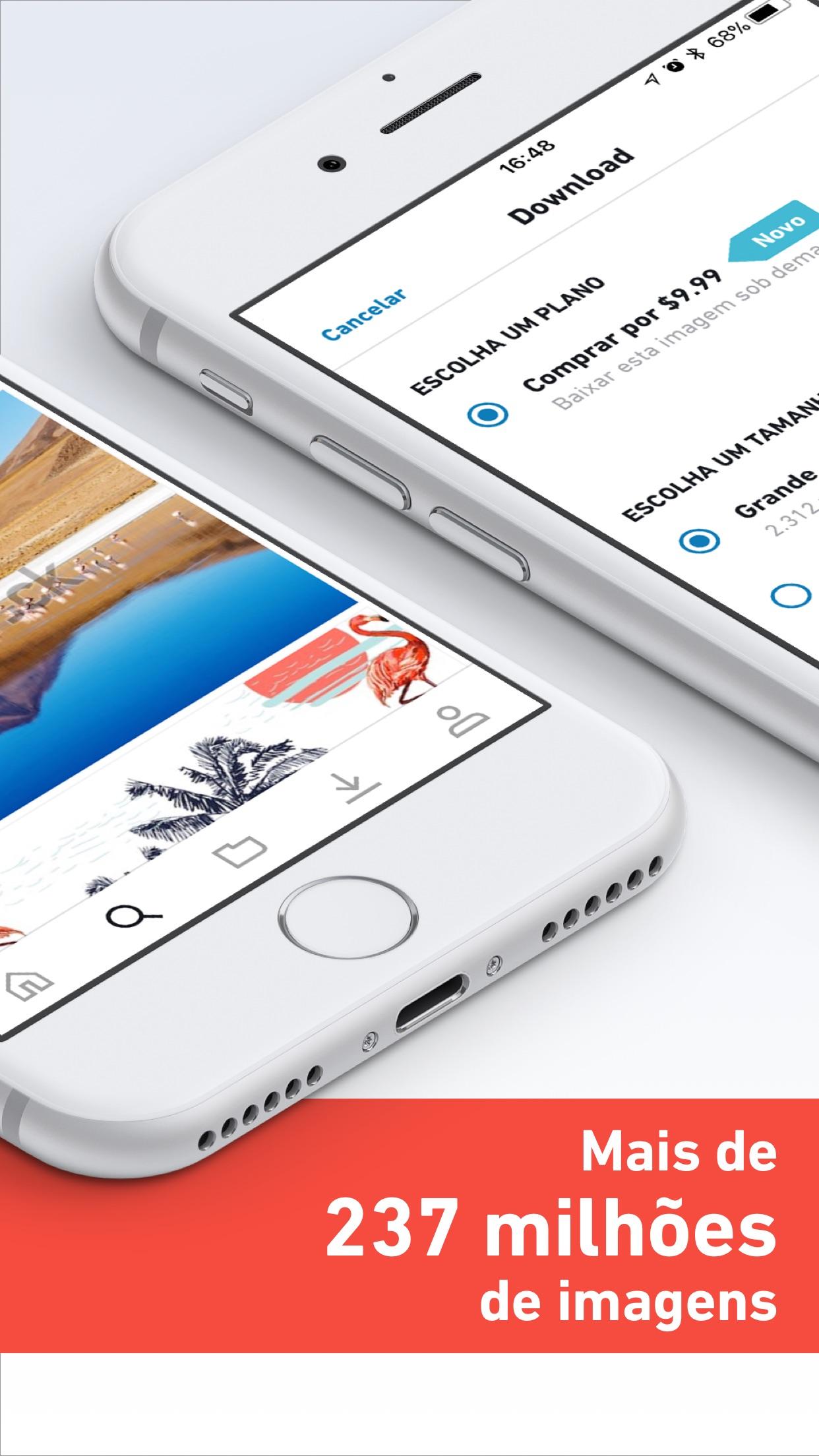 Screenshot do app Shutterstock: Estoque de Fotos