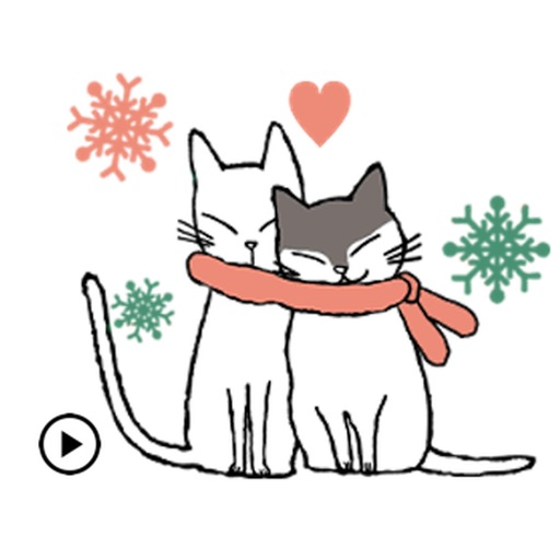 Animated Lovely Girl And Cat icon