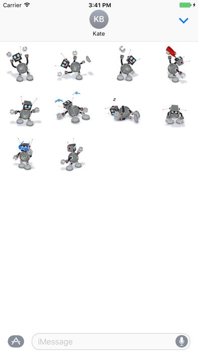 Happy Little Robot 3D Stickers