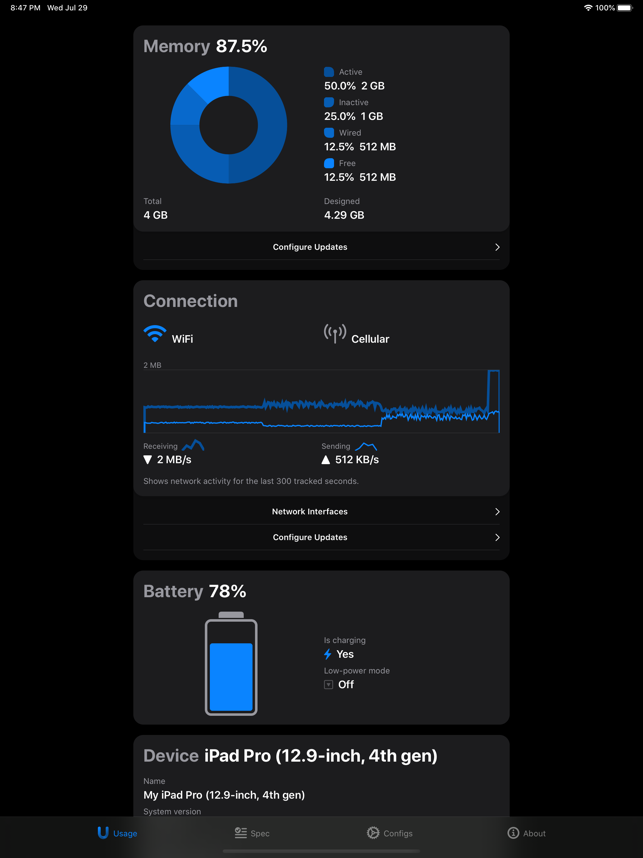 ‎Usage Widget & System Activity Capture d'écran