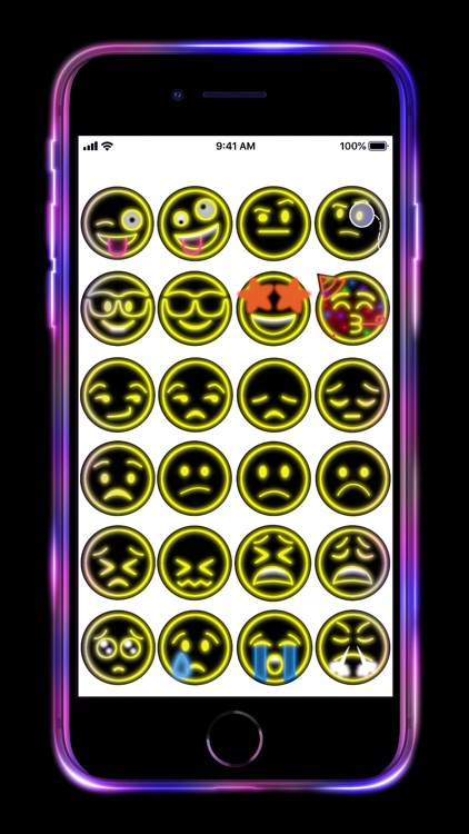 Neon Emoji iStickers Animated