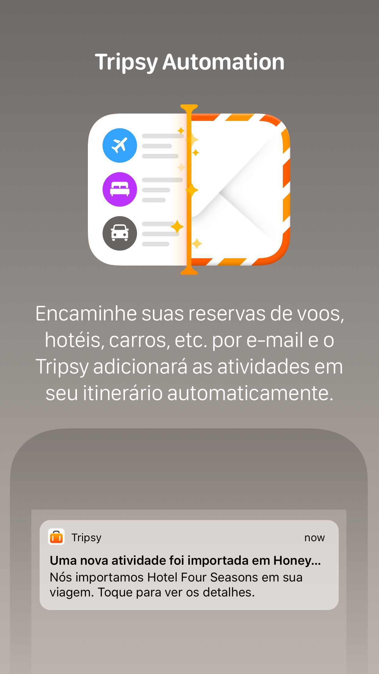 Screenshot do app Tripsy