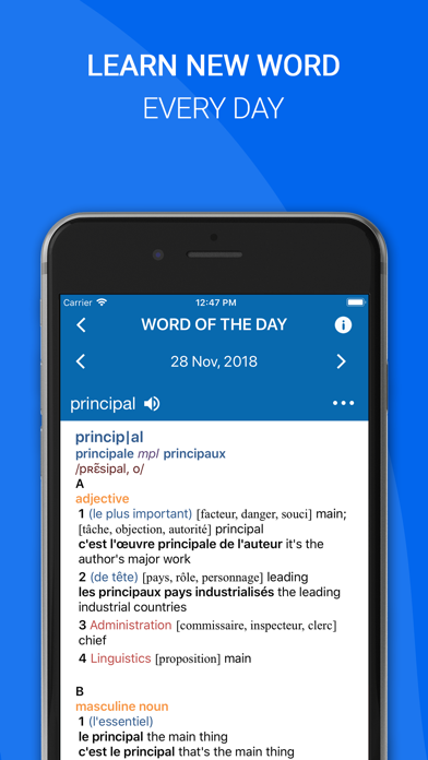 Oxford French Dictionary 2018 Screenshot on iOS