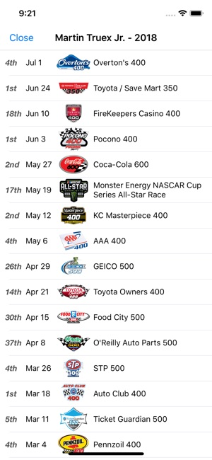 Racing Schedule For Nascar On The App Store