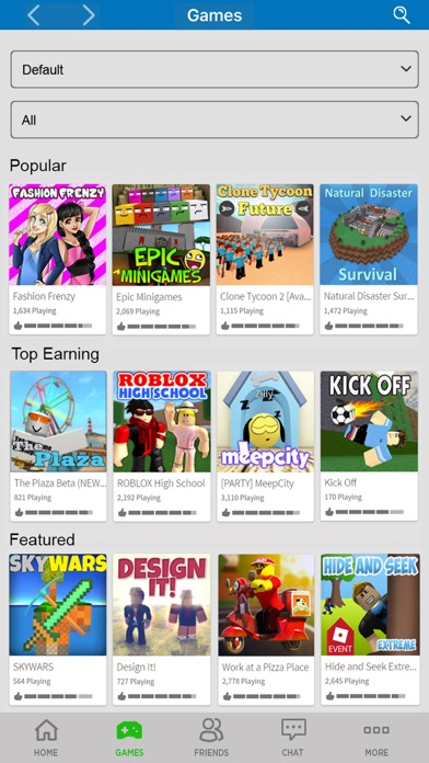 Screenshot of ROBLOX App