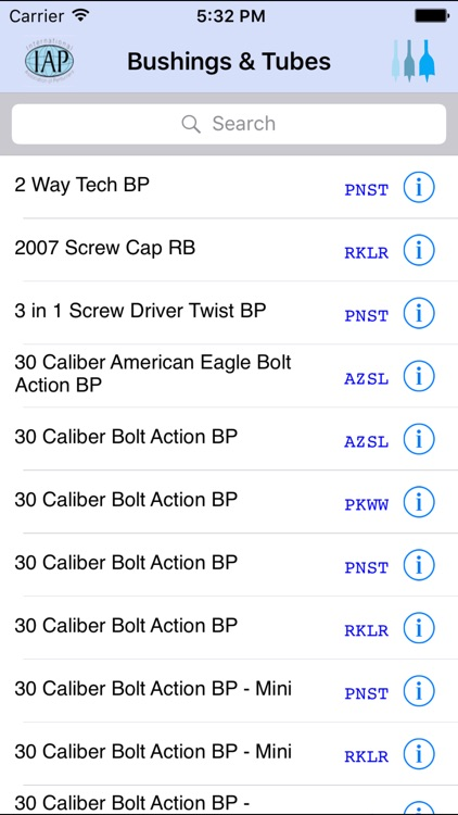 IAP Bushings & Tubes Reference screenshot-0