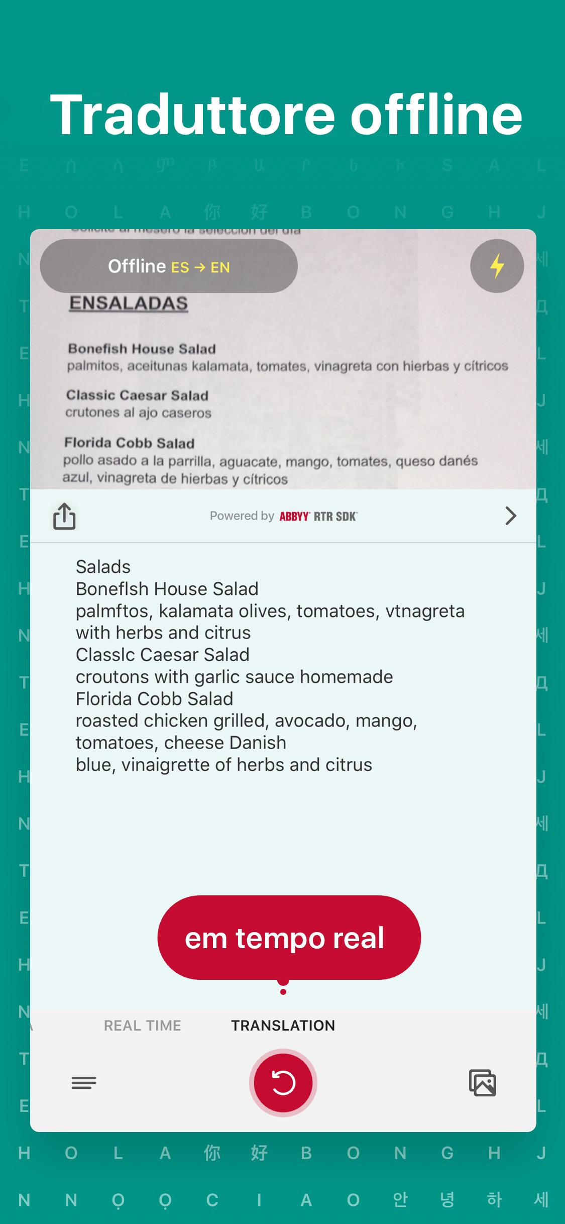 Screenshot do app TextGrabber 6 – Real-Time OCR