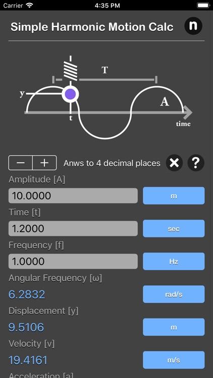 Simple Harmonic Motion Calc