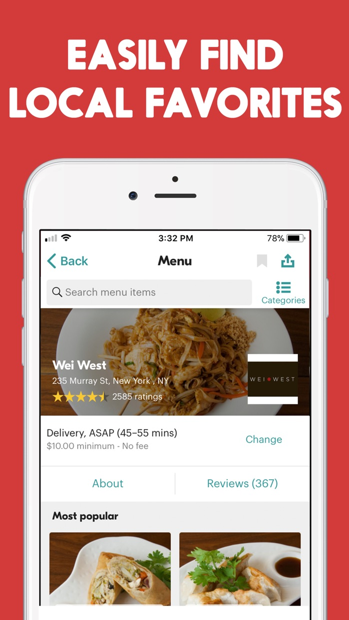 Seamless: Local Food Delivery Screenshot