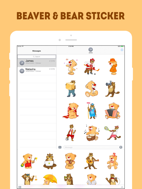 Ipad Screen Shot The Beaver and Bear Emojis 1