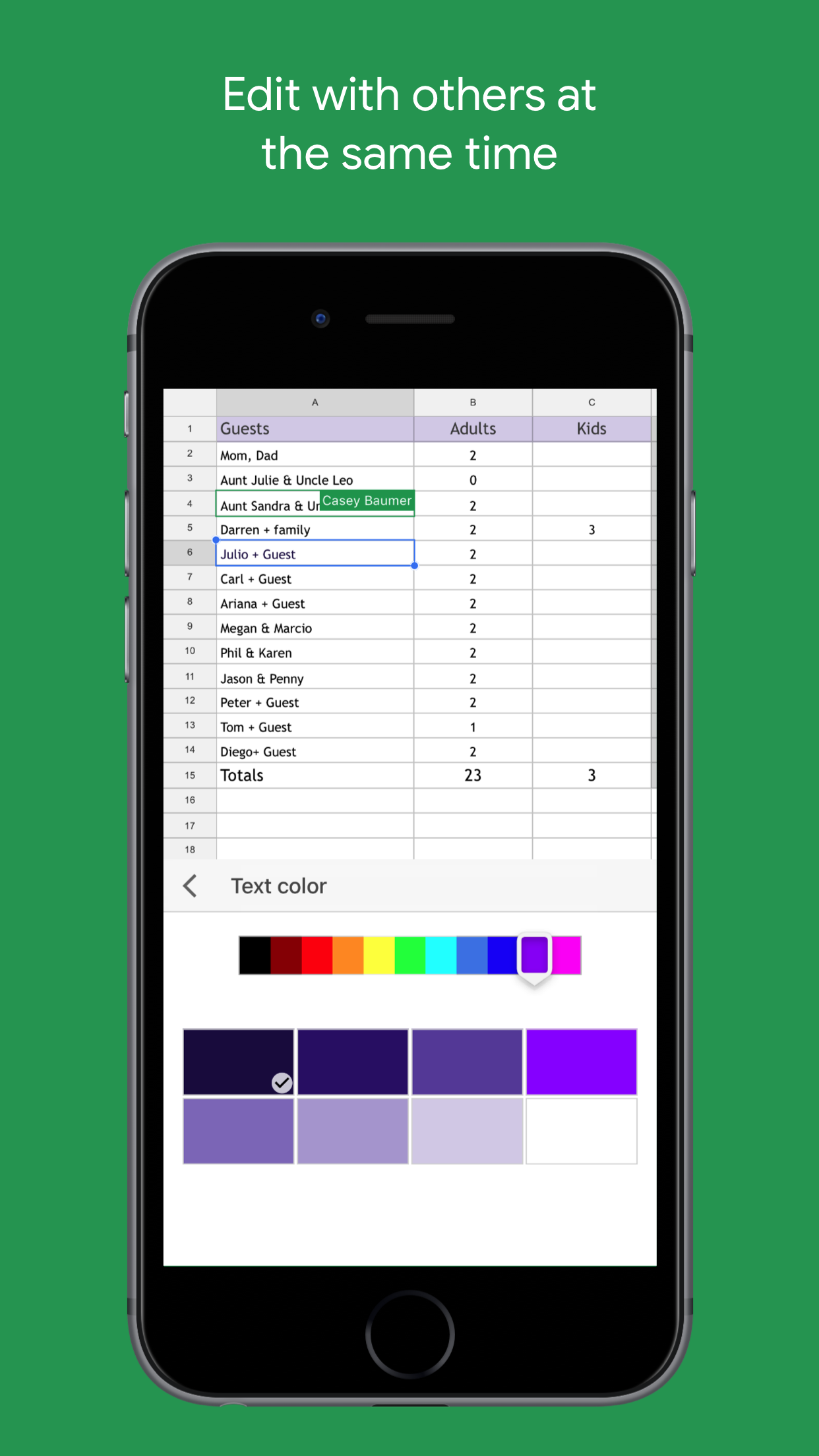 Google Sheets Screenshot