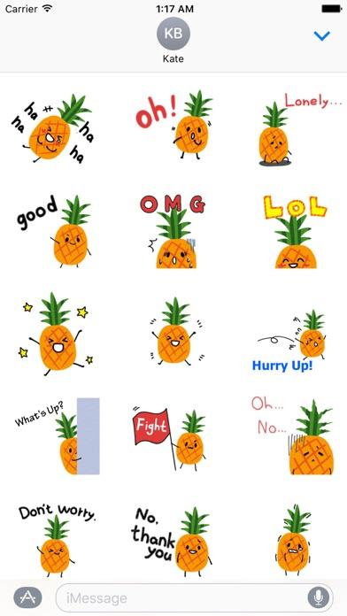 Cute Pineapple Emoji Sticker screenshot 2