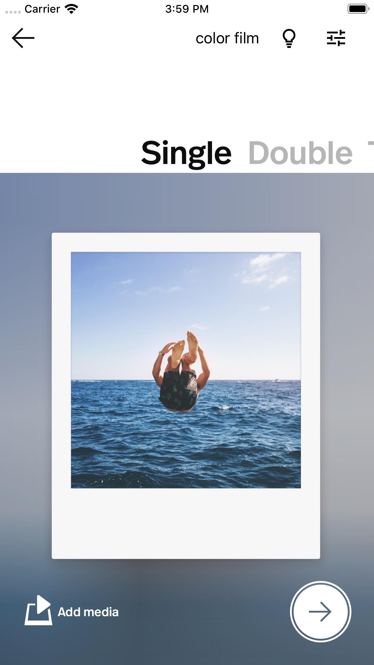 Screenshot do app Polaroid Originals