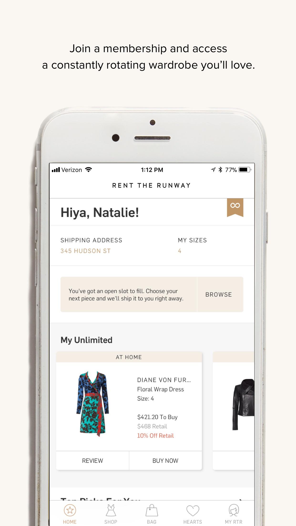 Rent the Runway Fashion Rental Screenshot