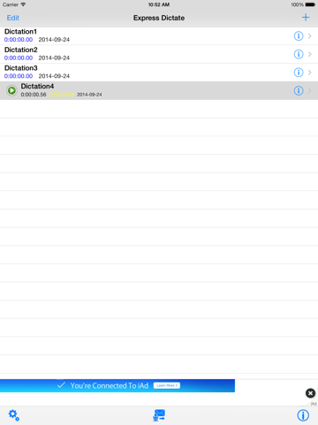 Screenshot of Express Dictate Dictation App