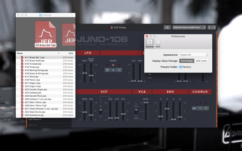 Roland Juno 106 & MKS7 Editor Screenshots