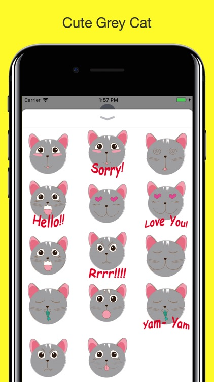 Grey Cat emojis - Smiley moji