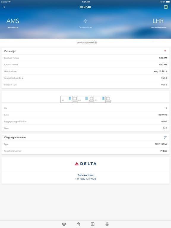 Schiphol - Realtime vluchtinformatie iPad app afbeelding 1