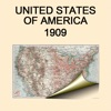 United States of America (1909). Historical map.
