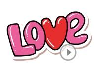 Animated Love Eighties Stickers
