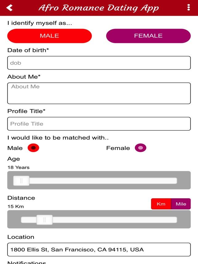 Afroromance dating app
