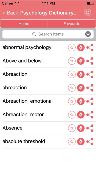 Psychology Dictionary Definitions Terms screenshot one