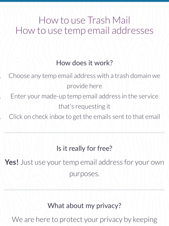 trash mail create temp email addresses app price drops