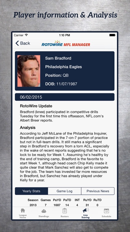 MyFantasyLeague Manager 2017 by RotoWire screenshot-3