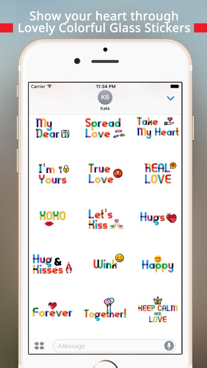 Lovely Colorful Glass Sensitive Word Stickers screenshot-3