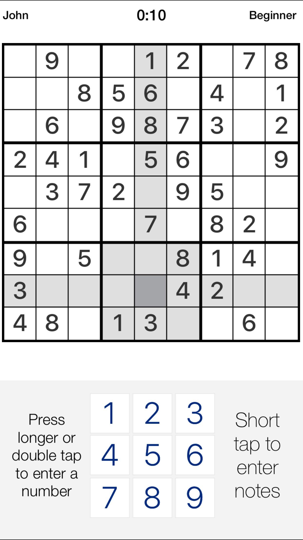 Pure Sudoku . Screenshot