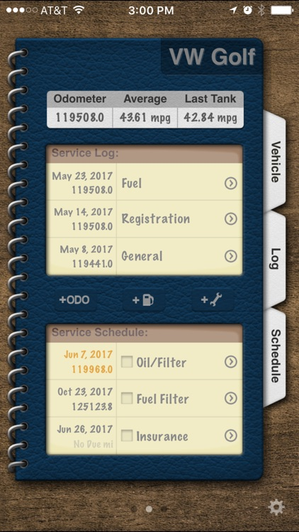 Vehicle Logbook - MPG, Maintenance & Services