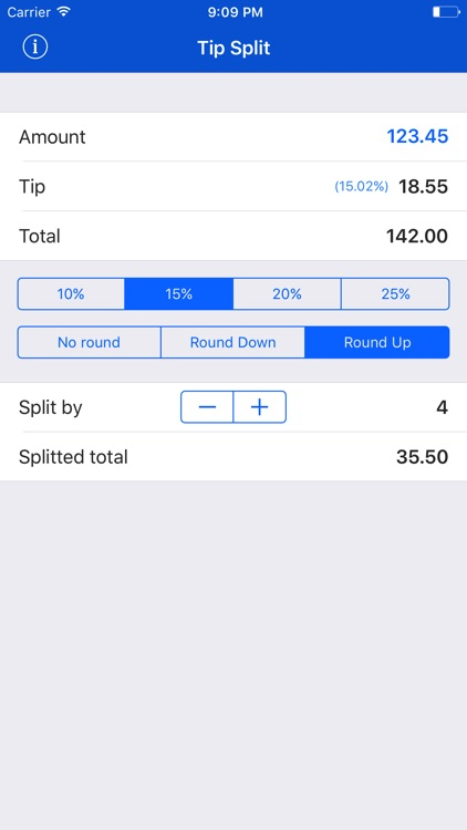 Tip Split • Fast Small Easy Tip Calculator