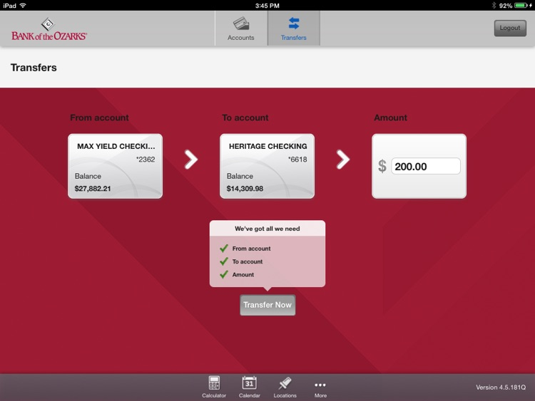 Bank of the Ozarks Mobile for iPad screenshot-3