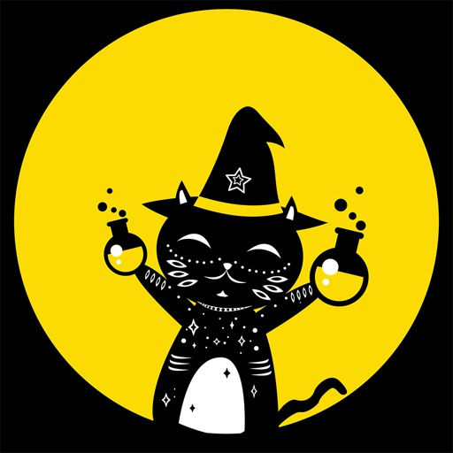 Animated Black Cat Witch Stickers Pack
