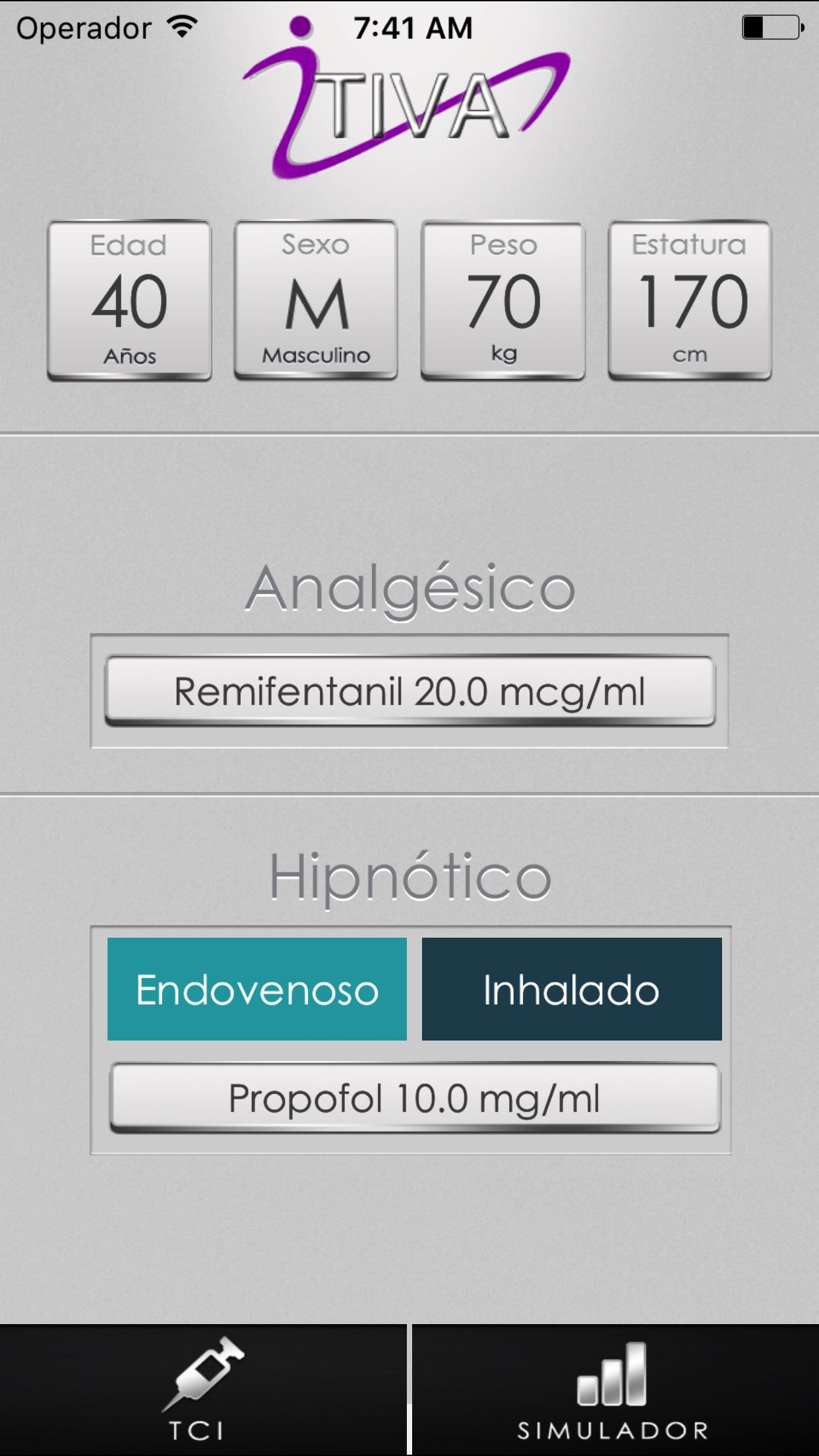 iTIVA Anestesia Screenshot
