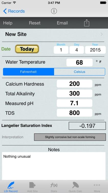 Langelier Saturation Index, LSI Job Logbook