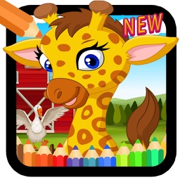 kids coloring book : farm animals painting game