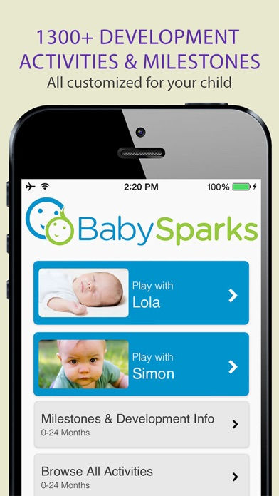 BabySparks - Development Activities and Milestones app image