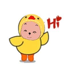 Cute Chicken Girl Sticker