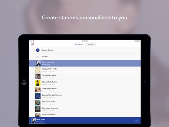 Screenshots of Pandora Music for iPad