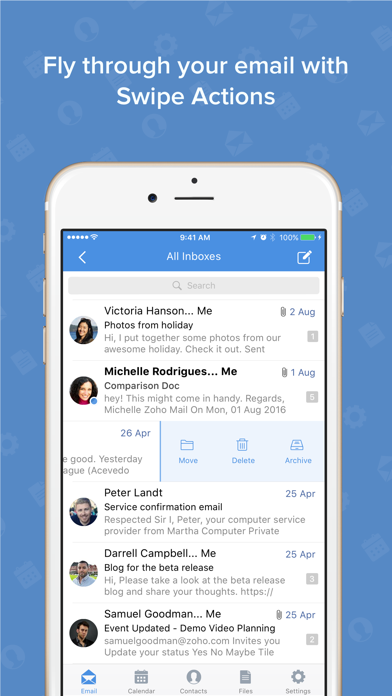 Screenshot 1 for Zoho Mail's iPhone app'