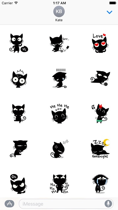 Funny Black Cat Stickers screenshot one