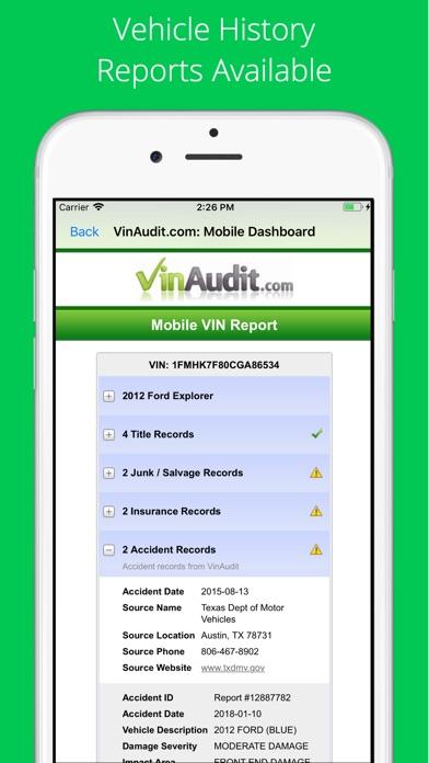 VIN Check Report + VIN Decoder Screenshot