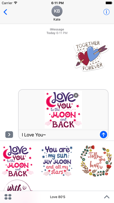 Love Stickers + Quotes - 80's Vintage & Retro Set screenshot 3