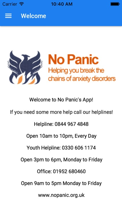 No Panic's Self Helper