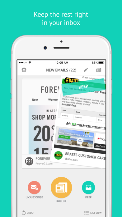 Screenshot 2 for Unroll.me's iPhone app'
