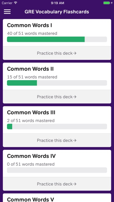 GRE Vocabulary Flashcards iPhone