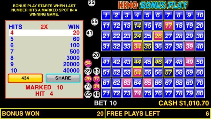 Keno Bonus Play Screenshot