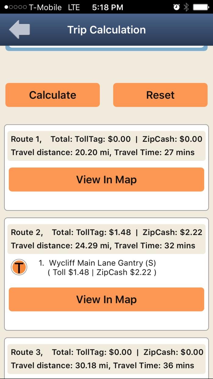 NTTA Tollmate® Screenshot