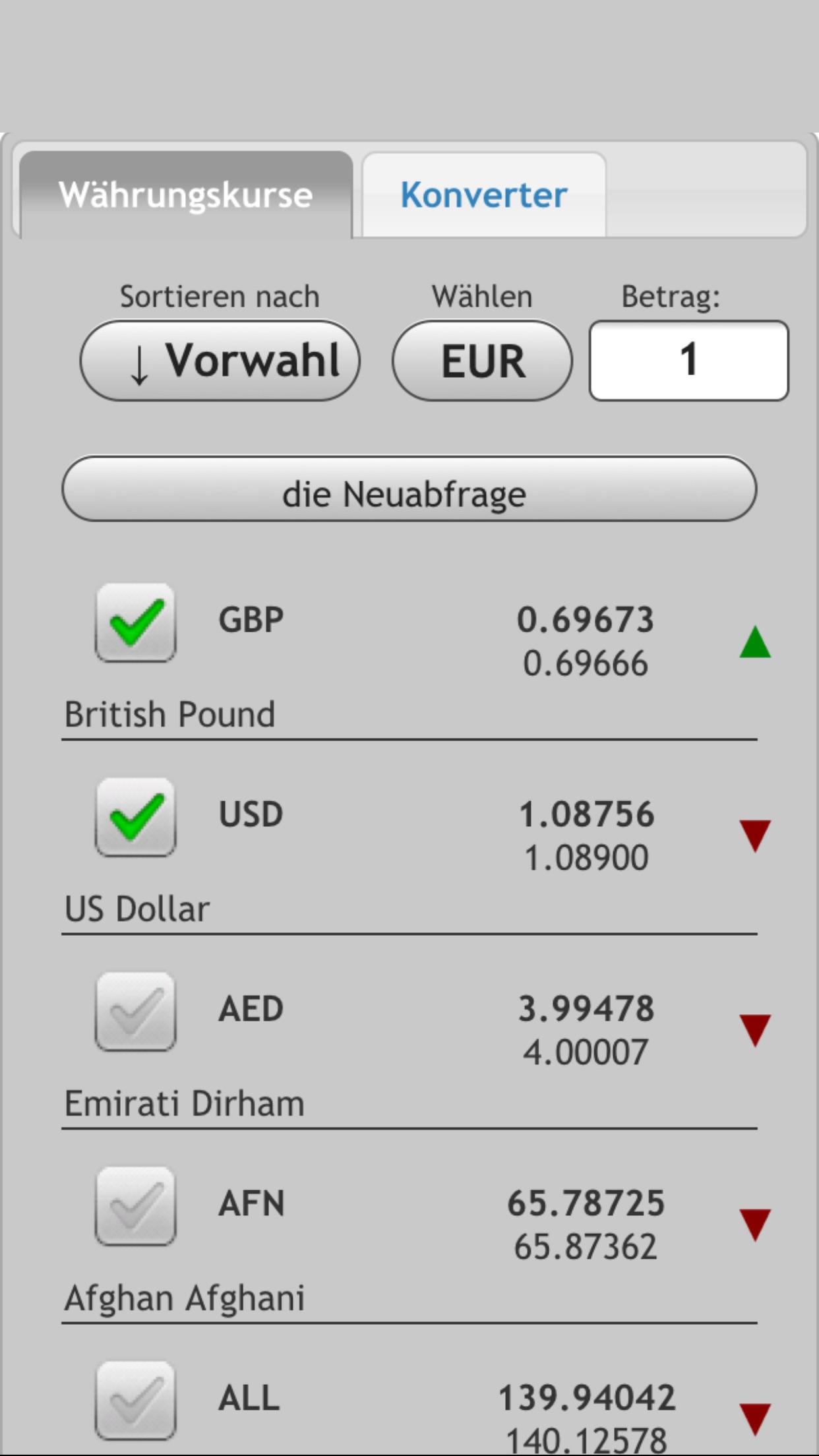 Wechselkurs. Alle Währungen Screenshot